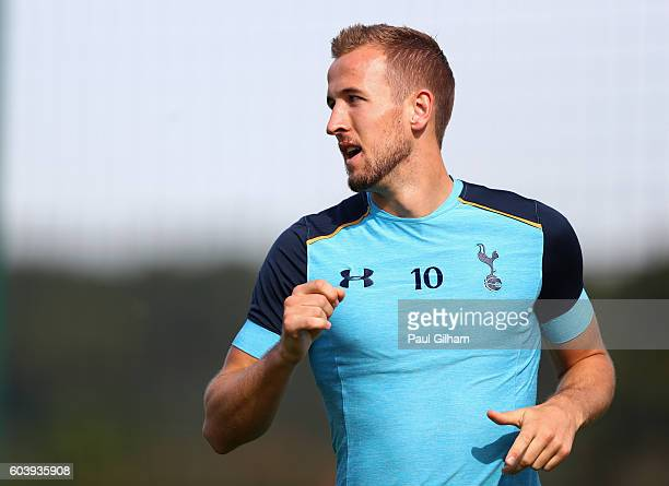 Harry Kane of Tottenham Hotspur looks on during the Tottenham Hotspur training session at Tottenham Hotspur training centre on September 13 2016 in...