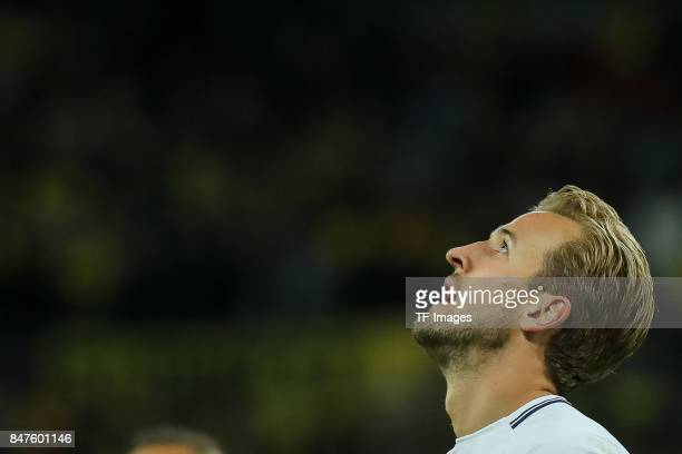 Harry Kane of Tottenham Hotspur looks on during the UEFA Champions League group H match between Tottenham Hotspur and Borussia Dortmund at Wembley...