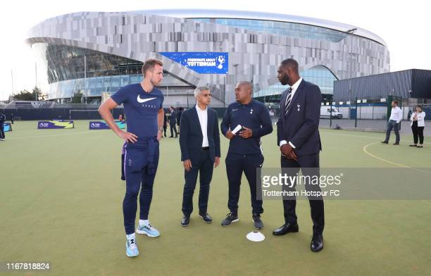 Harry Kane of Tottenham Hotspur Mayor of London Sadiq Khan Tottenham Hotspur Foundation coach Richard Allicock and Tottenham Hotspur ambassador...
