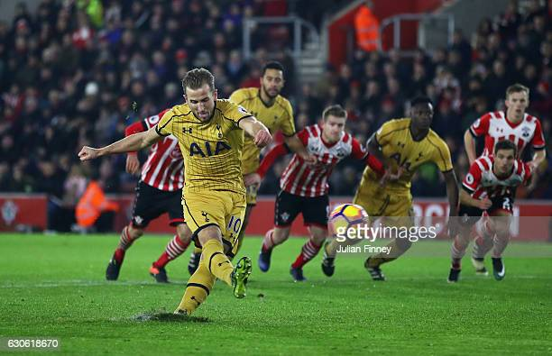 Harry Kane of Tottenham Hotspur misses a penalty kick during the Premier League match between Southampton and Tottenham Hotspur at St Mary's Stadium...