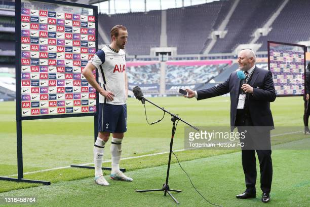 Harry Kane of Tottenham Hotspur of Tottenham Hotspur is interviewed after the Premier League match between Tottenham Hotspur and Wolverhampton...