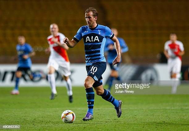 Harry Kane of Tottenham Hotspur on the ball during the UEFA Europa League group J match between AS Monaco FC and Tottenham Hotspur FC at Stade Louis...
