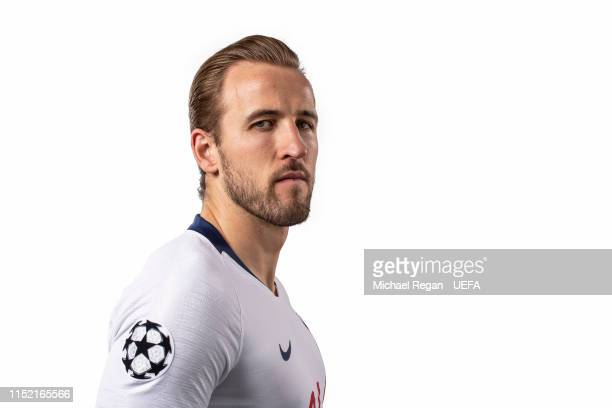Harry Kane of Tottenham Hotspur poses for a photo during the Tottenham Hotspur UEFA Champions League Final Preview Portrait Shoot at Enfield Training...