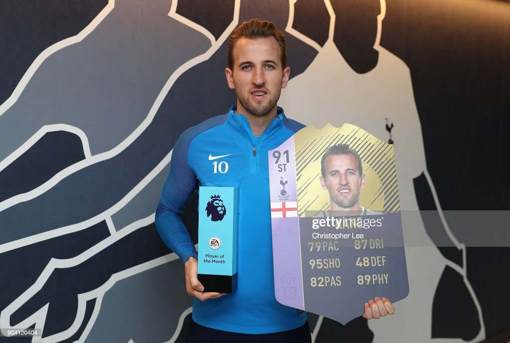 Harry Kane of Tottenham Hotspur poses for the camera as he is Awarded with the EA SPORTS Player of the Month for December on January 11, 2018 in Enfield, England.