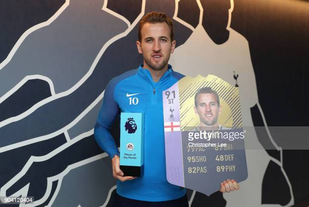 Harry Kane of Tottenham Hotspur poses for the camera as he is Awarded with the EA SPORTS Player of the Month for December on January 11 2018 in...