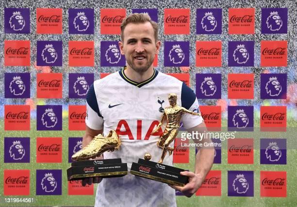 Harry Kane of Tottenham Hotspur poses with the Coca-Cola Zero Sugar Golden Boot Winner award, and the Coca-Cola Zero Sugar Playmaker Winner award...