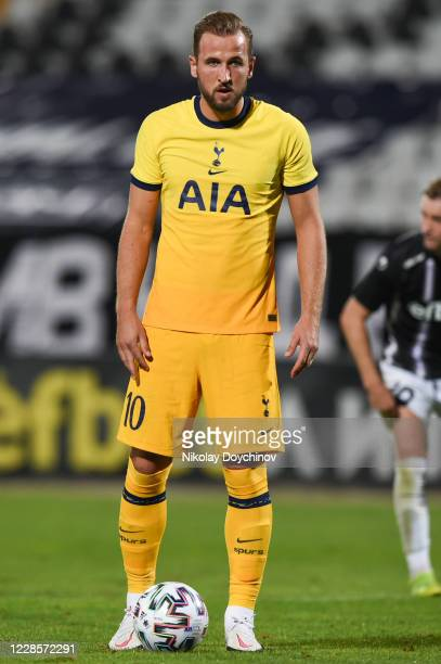 Harry Kane of Tottenham Hotspur prepares to shoot a penalty during the UEFA Europa League second qualifying round match between Lokomotiv Plovdiv and...