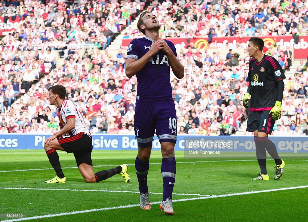 Harry Kane of Tottenham Hotspur reacts after a missed chance during the Barclays Premier League match between Sunderland and Tottenham Hotspur at the Stadium of Light on September 13, 2015 in Sunderland, United Kingdom.