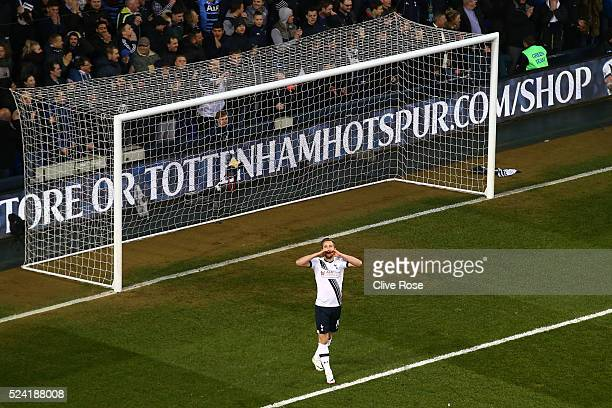 Harry Kane of Tottenham Hotspur reacts after a missed chance during the Barclays Premier League match between Tottenham Hotspur and West Bromwich...