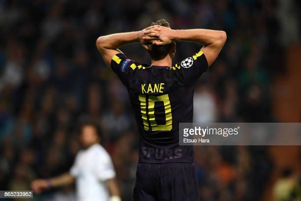 Harry Kane of Tottenham Hotspur reacts after missing a chance during the UEFA Champions League group H match between Real Madrid and Tottenham...