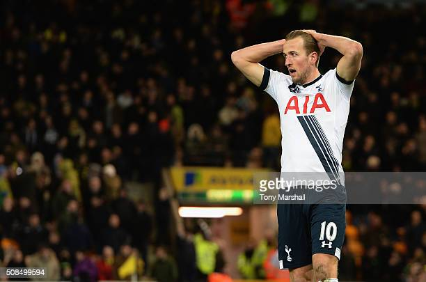 Harry Kane of Tottenham Hotspur reacts after missing a goal chance during the Barclays Premier League match between Norwich City and Tottenham...