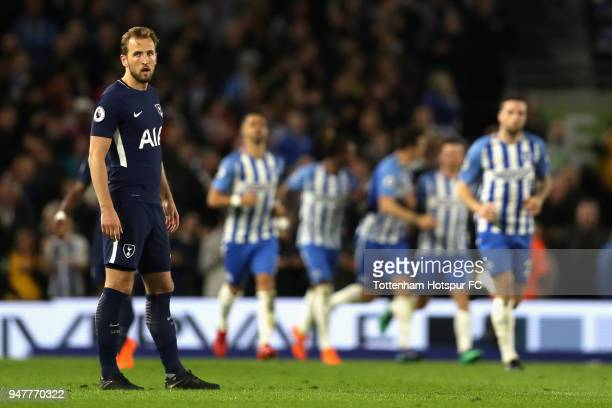Harry Kane of Tottenham Hotspur reacts after Pascal Gross of Brighton and Hove Albion scores from the penalty spot during the Premier League match...