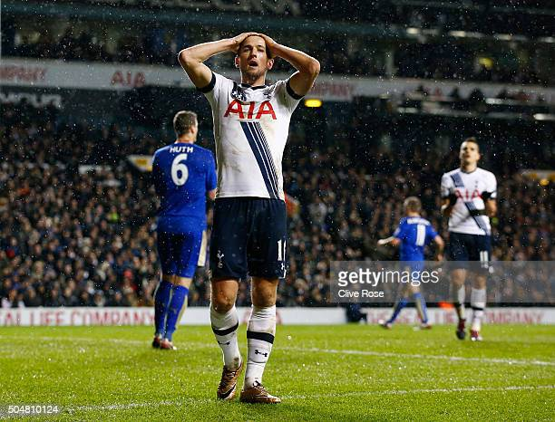 Harry Kane of Tottenham Hotspur reacts during the Barclays Premier League match between Tottenham Hotspur and Leicester City at White Hart Lane on...
