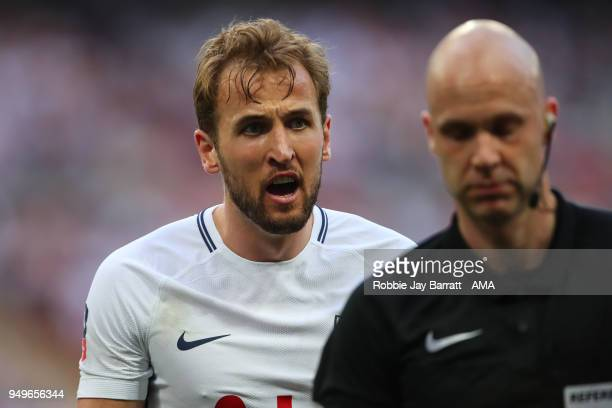Harry Kane of Tottenham Hotspur reacts during The Emirates FA Cup Semi Final match between Manchester United and Tottenham Hotspur at Wembley Stadium...