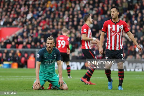 Harry Kane of Tottenham Hotspur reacts during the Premier League match between Southampton FC and Tottenham Hotspur at St Mary's Stadium on March 09...