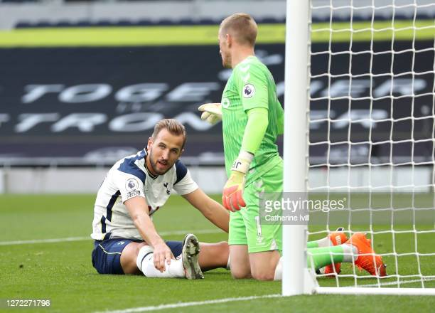 Harry Kane of Tottenham Hotspur reacts during the Premier League match between Tottenham Hotspur and Everton at Tottenham Hotspur Stadium on...