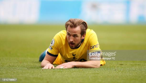 Harry Kane of Tottenham Hotspur reacts during the Premier League match between Newcastle United and Tottenham Hotspur at St. James Park on April 04,...
