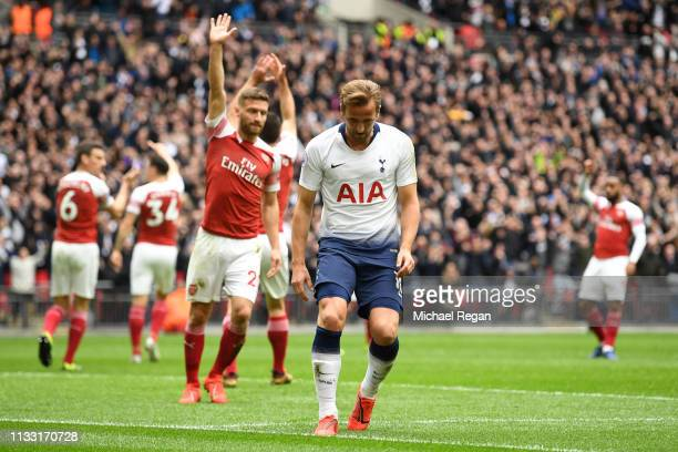 Harry Kane of Tottenham Hotspur reacts following a disallowed goal during the Premier League match between Tottenham Hotspur and Arsenal FC at...