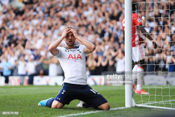 Harry Kane of Tottenham Hotspur reacts to missing a chance during the Premier League match between Tottenham Hotspur and Manchester United at White...