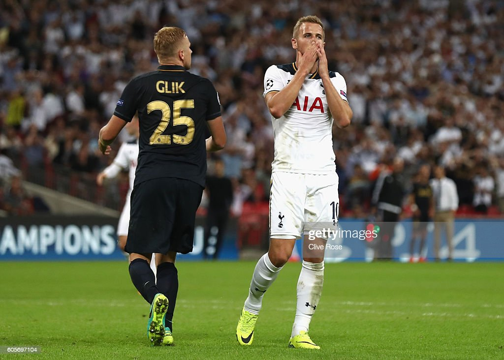 Harry Kane of Tottenham Hotspur reacts to missing an opportunity during the UEFA Champions League match between Tottenham Hotspur FC and AS Monaco FC at Wembley Stadium on September 14, 2016 in London, England.