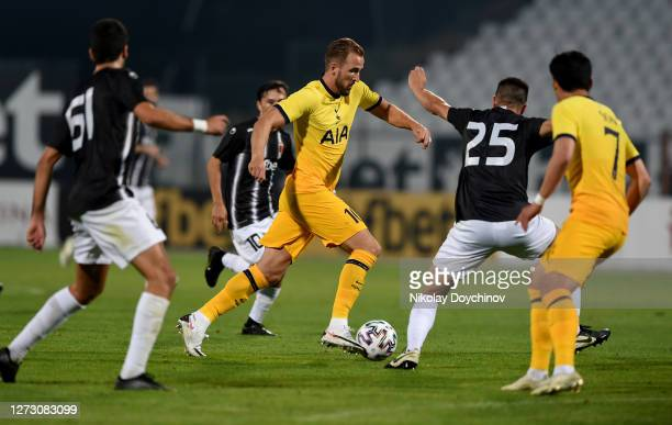 Harry Kane of Tottenham Hotspur runs with the ball during the UEFA Europa League second qualifying round match between Lokomotiv Plovdiv and...