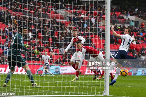 Harry Kane of Tottenham Hotspur scores a goal to make it 10 during the Premier League match between Tottenham Hotspur and Arsenal at Wembley Stadium...