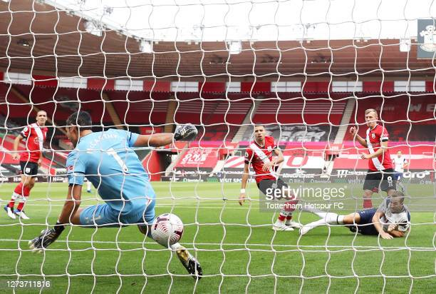 Harry Kane of Tottenham Hotspur scores a goal which is later ruled offside during the Premier League match between Southampton and Tottenham Hotspur...