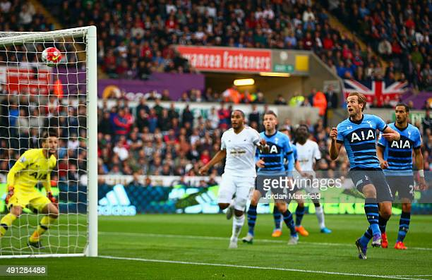 Harry Kane of Tottenham Hotspur scores an own goal during the Barclays Premier League match between Swansea City and Tottenham Hotspur at Liberty...