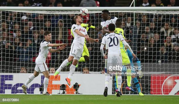Harry Kane of Tottenham Hotspur scores an own goal for Gent's first during the UEFA Europa League Round of 32 second leg match between Tottenham...