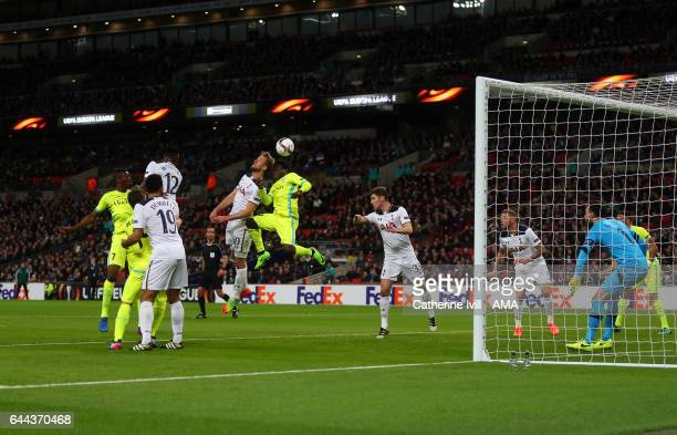 Harry Kane of Tottenham Hotspur scores an own goal to make it 1-1 during the UEFA Europa League Round of 32 second leg match between Tottenham...