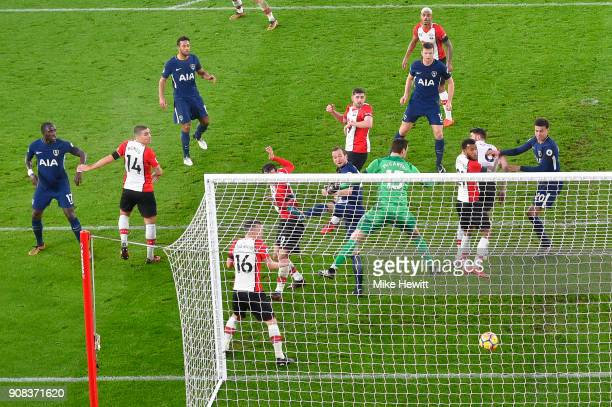 Harry Kane of Tottenham Hotspur scores during the Premier League match between Southampton and Tottenham Hotspur at St Mary's Stadium on January 21...