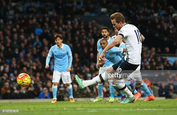 Harry Kane of Tottenham Hotspur scores from the penalty spot during the Barclays Premier League match between Manchester City and Tottenham Hotspur...