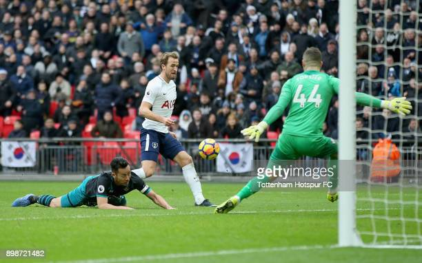 Harry Kane of Tottenham Hotspur scores his sides fifth goal past Fraser Forster of Southampton during the Premier League match between Tottenham...