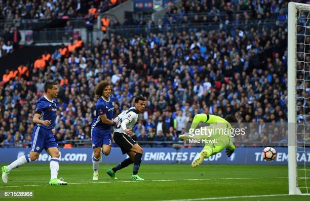 Harry Kane of Tottenham Hotspur scores his sides first goal during The Emirates FA Cup SemiFinal between Chelsea and Tottenham Hotspur at Wembley...
