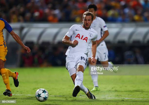 Harry Kane of Tottenham Hotspur scores his sides first goal during the UEFA Champions League Group H match between Apoel Nicosia and Tottenham...