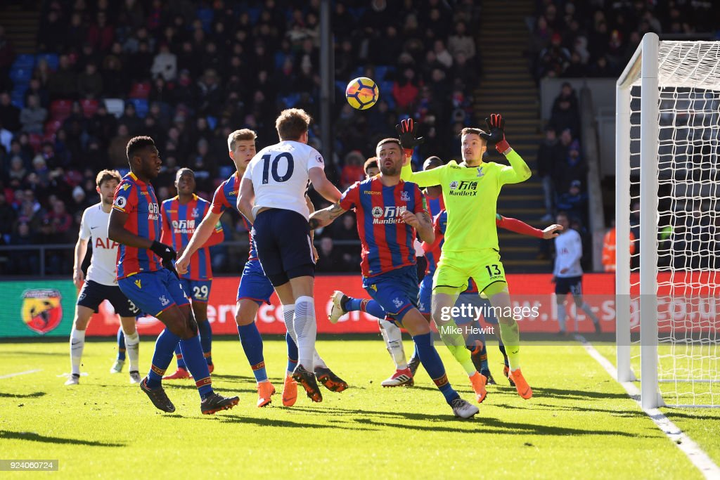 Harry Kane of Tottenham Hotspur scores his sides first goal during the Premier League match between Crystal Palace and Tottenham Hotspur at Selhurst Park on February 25, 2018 in London, England.