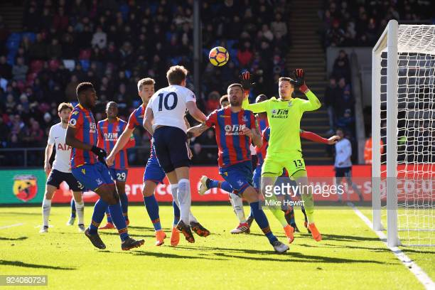 Harry Kane of Tottenham Hotspur scores his sides first goal during the Premier League match between Crystal Palace and Tottenham Hotspur at Selhurst...