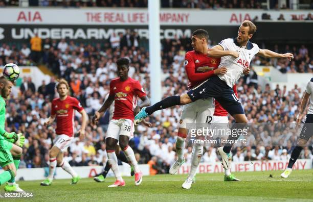 Harry Kane of Tottenham Hotspur scores his sides second goal during the Premier League match between Tottenham Hotspur and Manchester United at White...