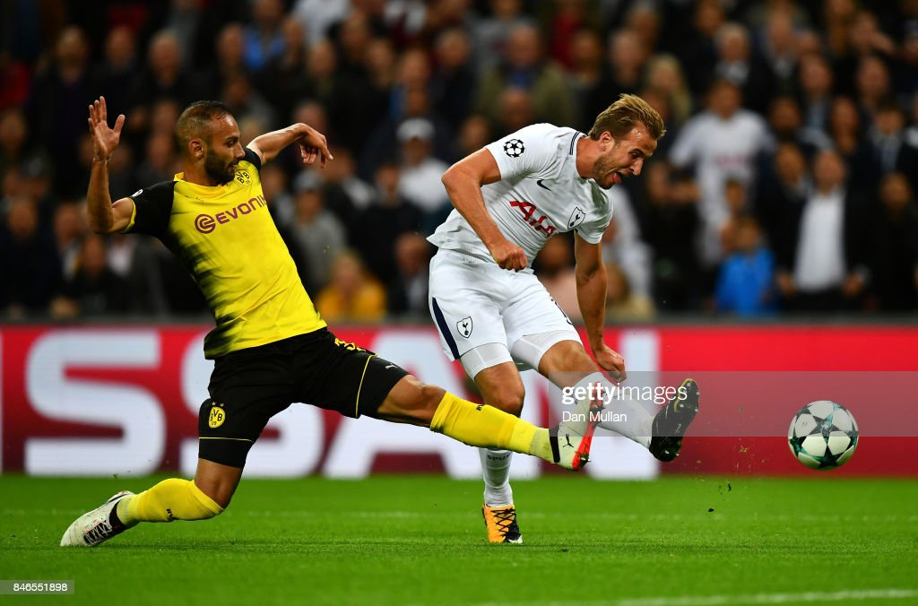Harry Kane of Tottenham Hotspur scores his sides second goal during the UEFA Champions League group H match between Tottenham Hotspur and Borussia Dortmund at Wembley Stadium on September 13, 2017 in London, United Kingdom.