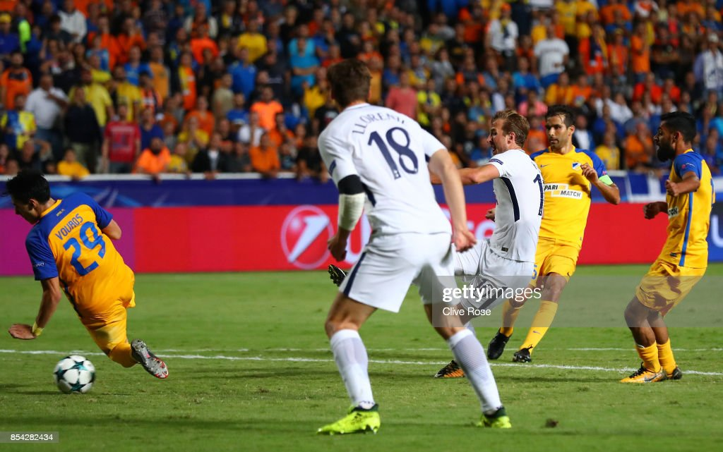 Harry Kane of Tottenham Hotspur scores his sides second goal during the UEFA Champions League Group H match between Apoel Nicosia and Tottenham Hotspur at GSP Stadium on September 26, 2017 in Nicosia, Cyprus.