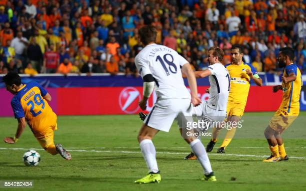 Harry Kane of Tottenham Hotspur scores his sides second goal during the UEFA Champions League Group H match between Apoel Nicosia and Tottenham...