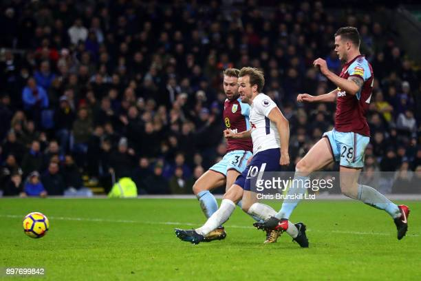 Harry Kane of Tottenham Hotspur scores his side's second goal during the Premier League match between Burnley and Tottenham Hotspur at Turf Moor on...