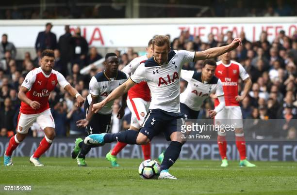 Harry Kane of Tottenham Hotspur scores his sides second goal from the penalty spot during the Premier League match between Tottenham Hotspur and...