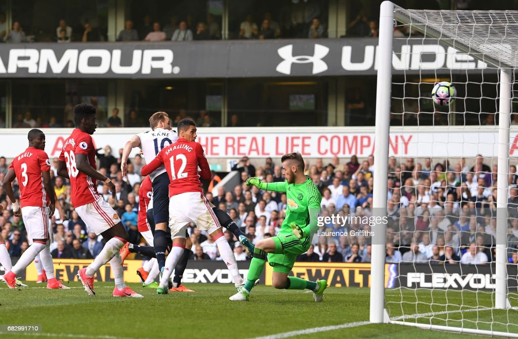 Harry Kane of Tottenham Hotspur scores his sides second goal past David De Gea of Manchester United during the Premier League match between Tottenham Hotspur and Manchester United at White Hart Lane on May 14, 2017 in London, England. Tottenham Hotspur are playing their last ever home match at White Hart Lane after their 118 year stay at the stadium. Spurs will play at Wembley Stadium next season with a move to a newly built stadium for the 2018-19 campaign.