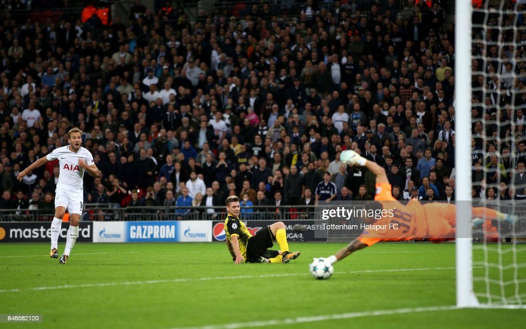 Harry Kane of Tottenham Hotspur scores his sides third goal during the UEFA Champions League group H match between Tottenham Hotspur and Borussia Dortmund at Wembley Stadium on September 13, 2017 in London, United Kingdom.