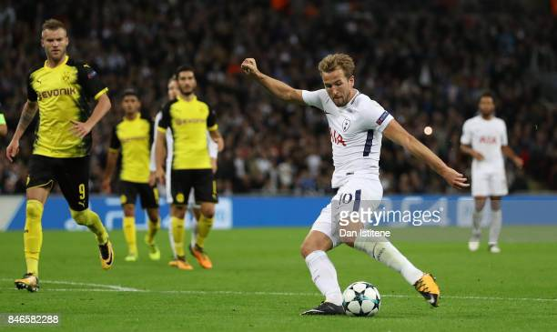 Harry Kane of Tottenham Hotspur scores his sides third goal during the UEFA Champions League group H match between Tottenham Hotspur and Borussia...