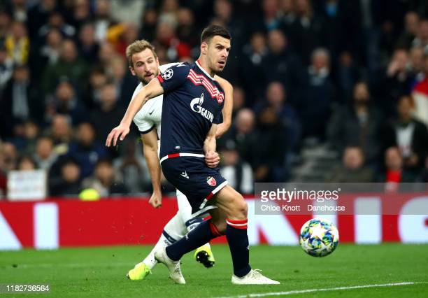 Harry Kane of Tottenham Hotspur scores his teams fifth goal during the UEFA Champions League group B match between Tottenham Hotspur and Crvena...