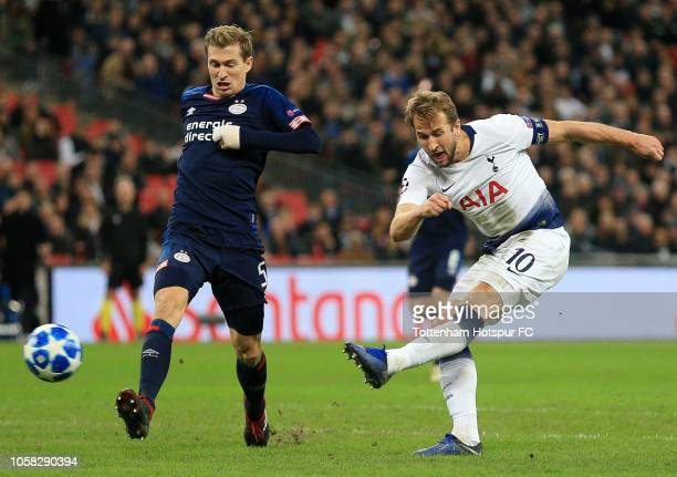 Harry Kane of Tottenham Hotspur scores his team's first goal during the Group B match of the UEFA Champions League between Tottenham Hotspur and PSV...