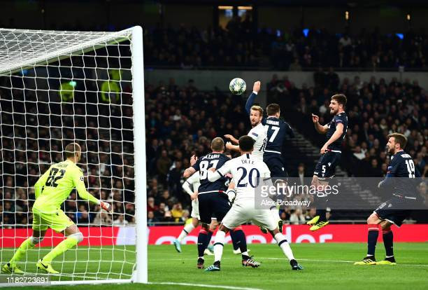 Harry Kane of Tottenham Hotspur scores his team's first goal during the UEFA Champions League group B match between Tottenham Hotspur and Crvena...