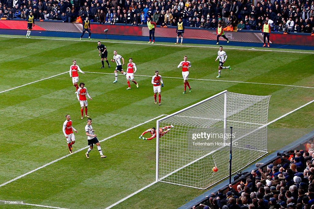 Harry Kane of Tottenham Hotspur scores his team's first goal during the Barclays Premier League match between Tottenham Hotspur and Arsenal at White Hart Lane on March 5, 2016 in London, England.